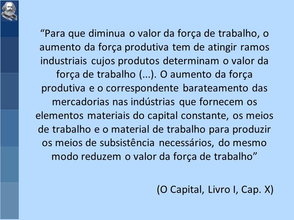 Para que diminua o valor da força de trabalho, o aumento da força produtiva tem de atingir ramos industriais cujos produtos determinam o valor da força de trabalho (...).