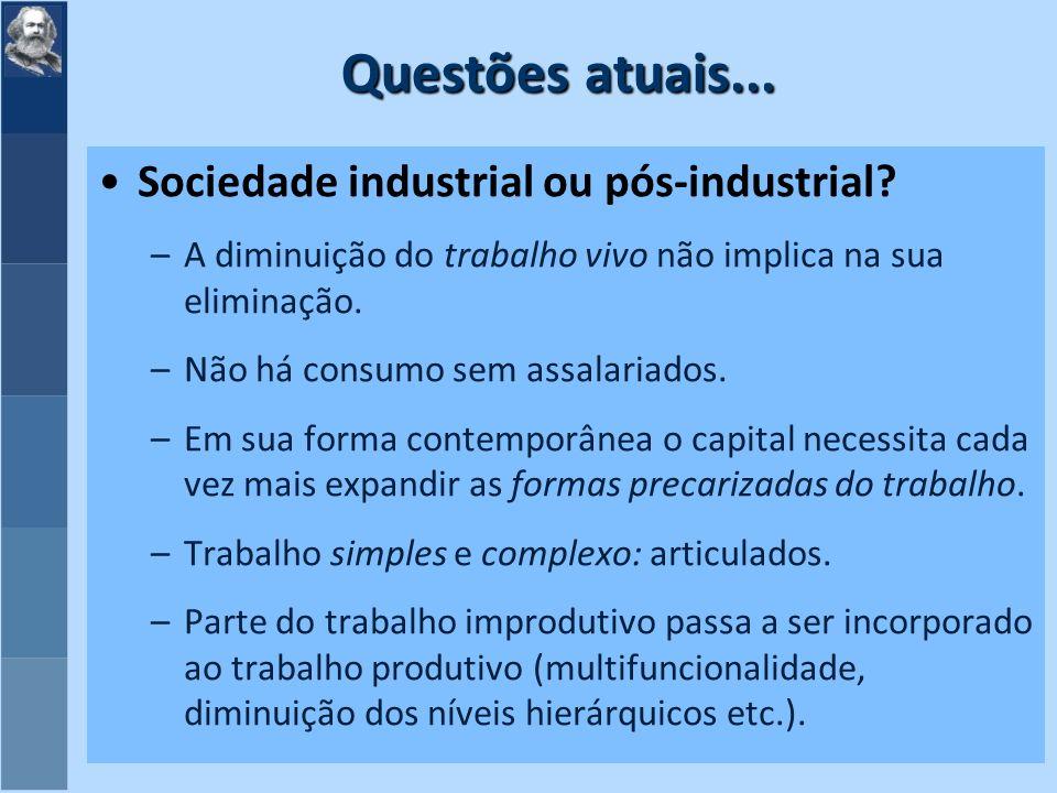 Questões atuais...Sociedade industrial ou pós-industrial.