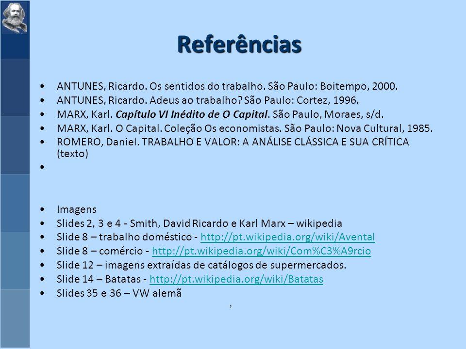 Referências ANTUNES, Ricardo.Os sentidos do trabalho.