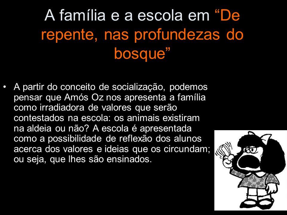 A família e a escola em De repente, nas profundezas do bosque A partir do conceito de socialização, podemos pensar que Amós Oz nos apresenta a família