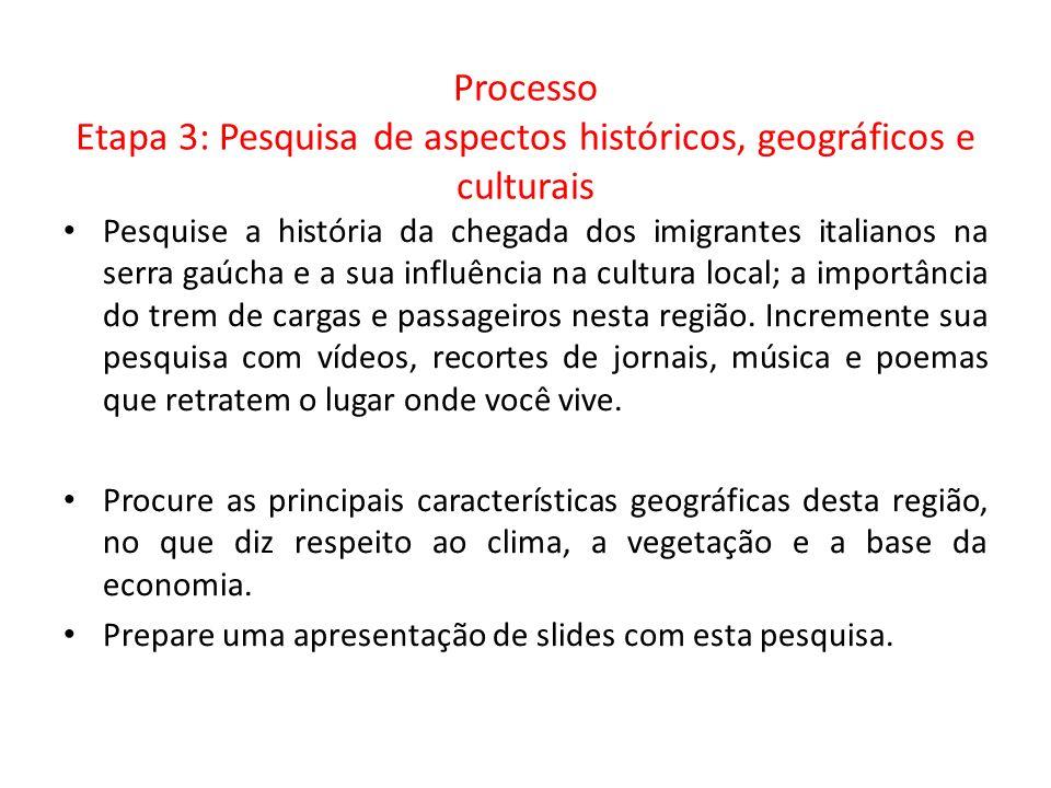 Processo Etapa 3: Pesquisa de aspectos históricos, geográficos e culturais Pesquise a história da chegada dos imigrantes italianos na serra gaúcha e a