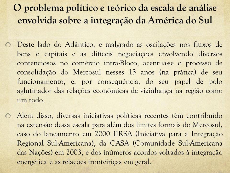 O problema político e teórico da escala de análise envolvida sobre a integração da América do Sul Deste lado do Atlântico, e malgrado as oscilações no