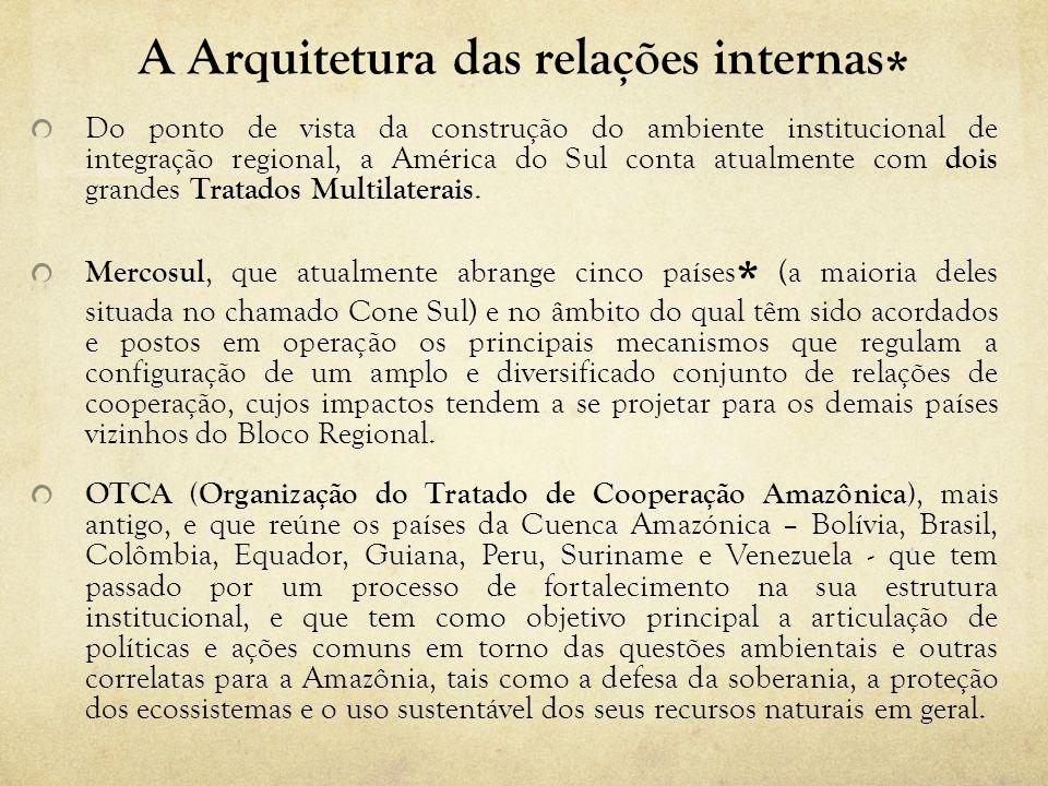 A Arquitetura das relações internas * Do ponto de vista da construção do ambiente institucional de integração regional, a América do Sul conta atualme