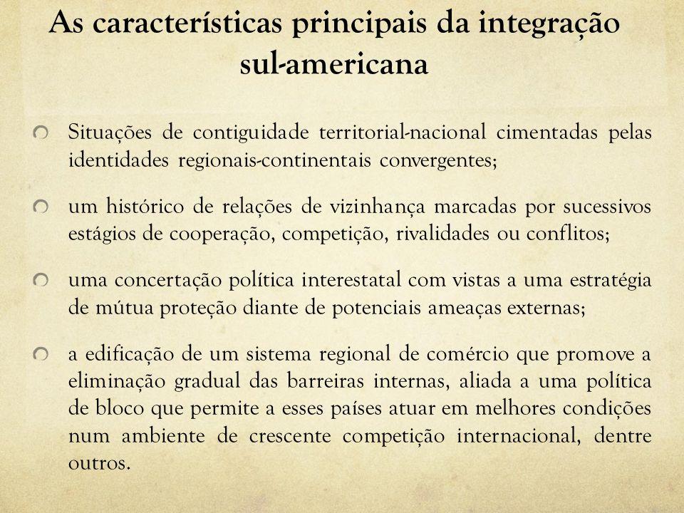 As características principais da integração sul-americana Situações de contiguidade territorial-nacional cimentadas pelas identidades regionais-contin