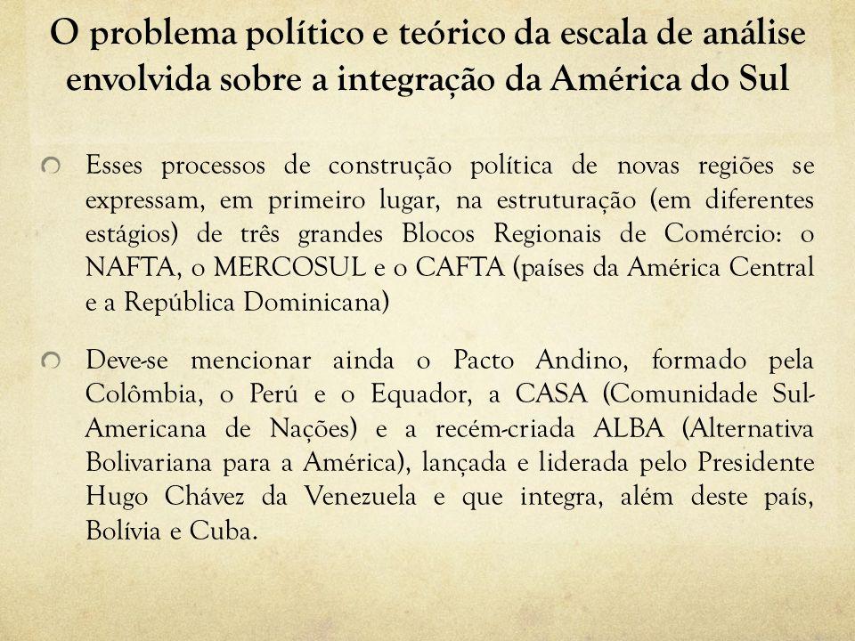 O problema político e teórico da escala de análise envolvida sobre a integração da América do Sul Esses processos de construção política de novas regi