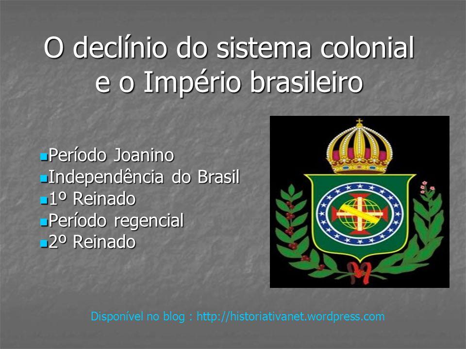 Período Joanino (1808-1821) Contexto internacional: Guerras Napoleônicas Guerras Napoleônicas Bloqueio Continental Bloqueio Continental Debilidade econômica portuguesa Debilidade econômica portuguesa Antigo projeto da Coroa portuguesa de transferir-se para o Brasil Antigo projeto da Coroa portuguesa de transferir-se para o Brasil