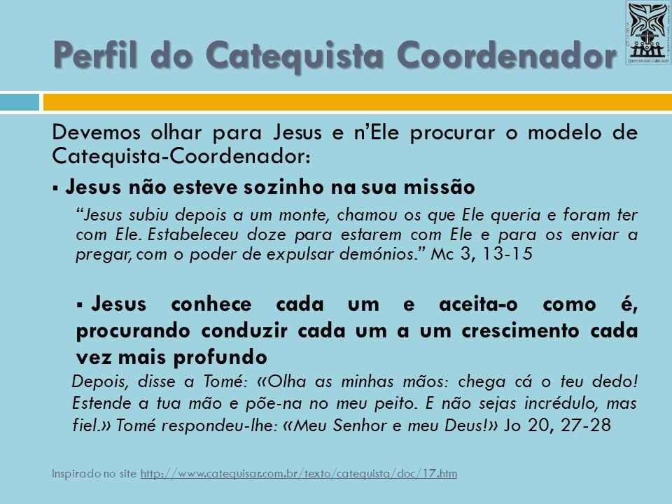 Perfil do Catequista Coordenador Devemos olhar para Jesus e nEle procurar o modelo de Catequista-Coordenador: Jesus não esteve sozinho na sua missão J