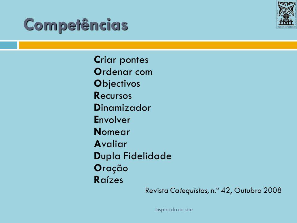 Competências Criar pontes Ordenar com Objectivos Recursos Dinamizador Envolver Nomear Avaliar Dupla Fidelidade Oração Raízes Revista Catequistas, n.º