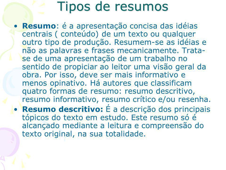 Tipos de resumos Resumo: é a apresentação concisa das idéias centrais ( conteúdo) de um texto ou qualquer outro tipo de produção.