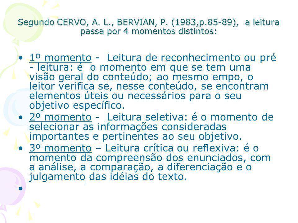Segundo CERVO, A. L., BERVIAN, P. (1983,p.85-89), a leitura passa por 4 momentos distintos: 1º momento - Leitura de reconhecimento ou pré - leitura: é