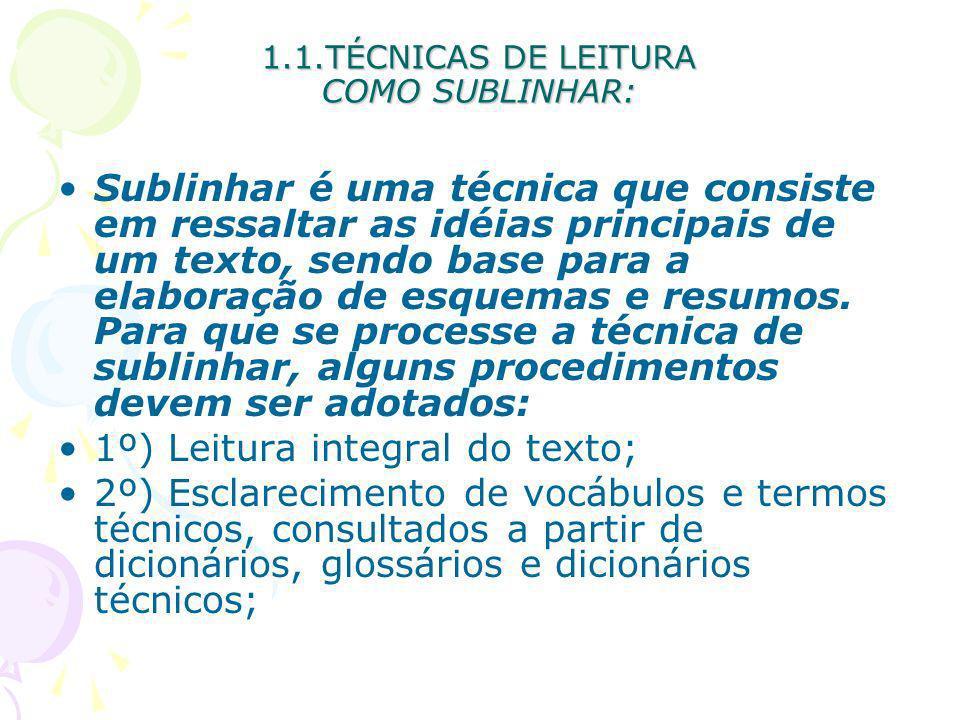 1.1.TÉCNICAS DE LEITURA COMO SUBLINHAR: Sublinhar é uma técnica que consiste em ressaltar as idéias principais de um texto, sendo base para a elaboraç