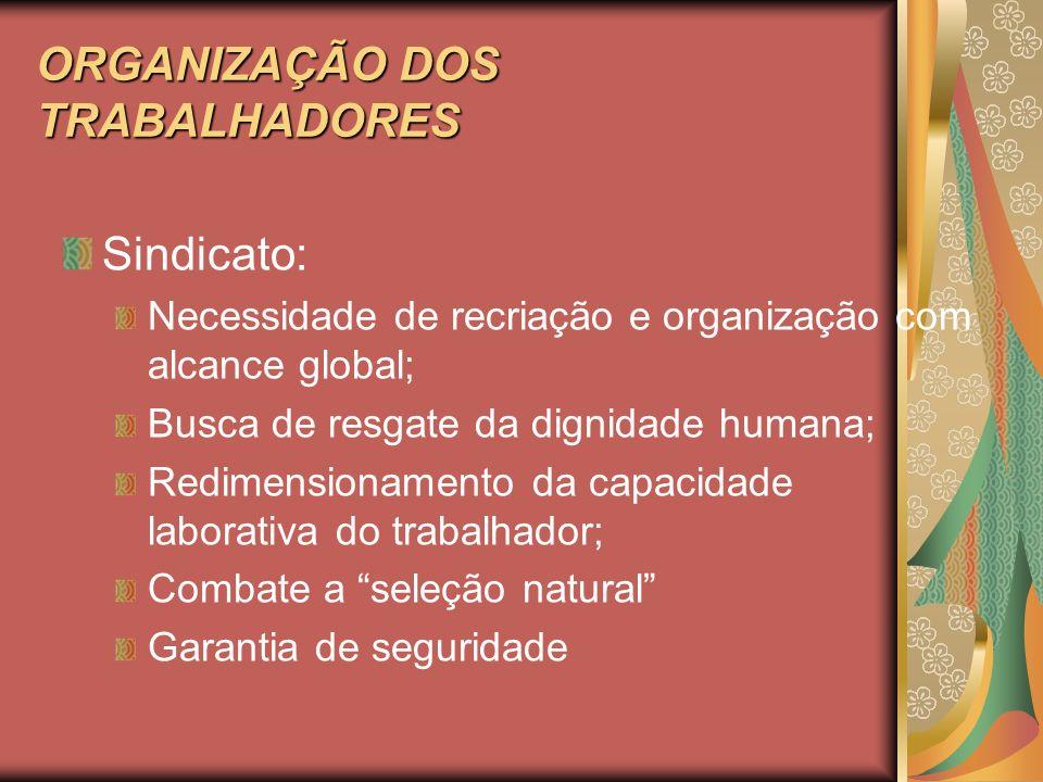 ORGANIZAÇÃO DOS TRABALHADORES Sindicato: Necessidade de recriação e organização com alcance global; Busca de resgate da dignidade humana; Redimensiona