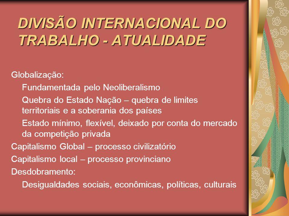 DIVISÃO INTERNACIONAL DO TRABALHO - ATUALIDADE Globalização: Fundamentada pelo Neoliberalismo Quebra do Estado Nação – quebra de limites territoriais