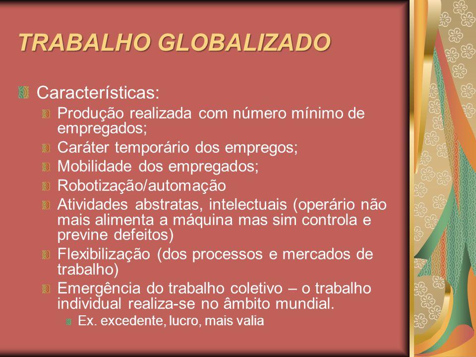 TRABALHO GLOBALIZADO Características: Produção realizada com número mínimo de empregados; Caráter temporário dos empregos; Mobilidade dos empregados;