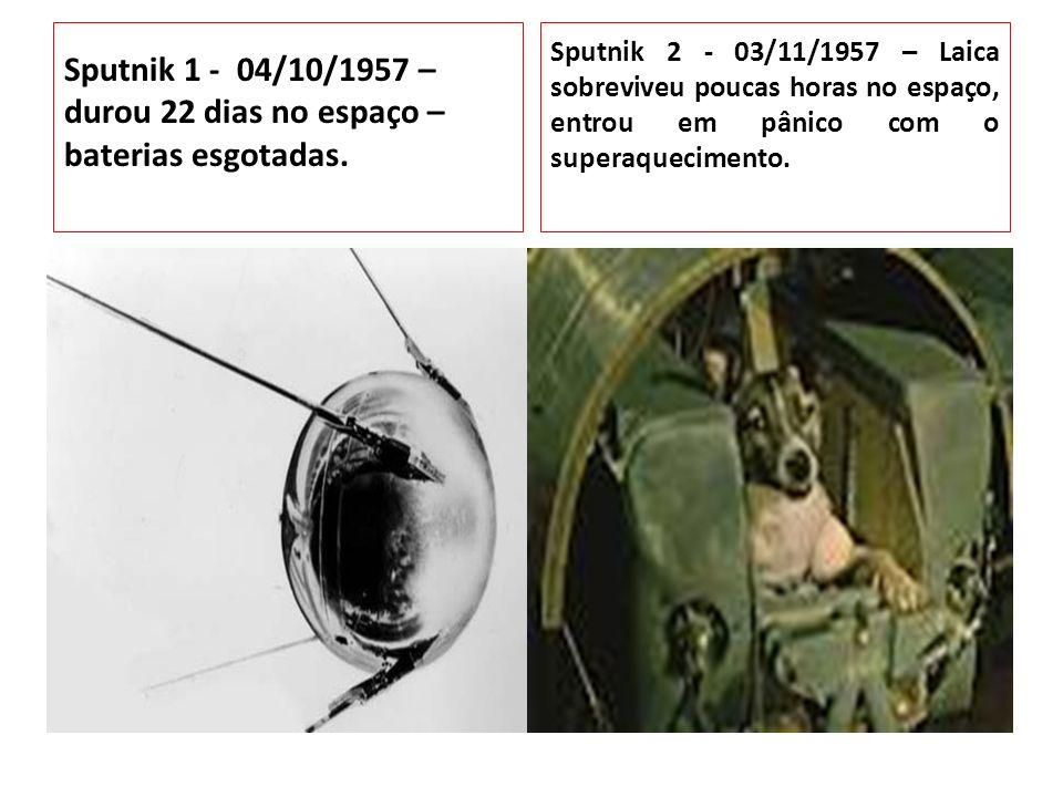 Sputnik 1 - 04/10/1957 – durou 22 dias no espaço – baterias esgotadas. Sputnik 1 lançada em 1957. Sputnik 2 - 03/11/1957 – Laica sobreviveu poucas hor