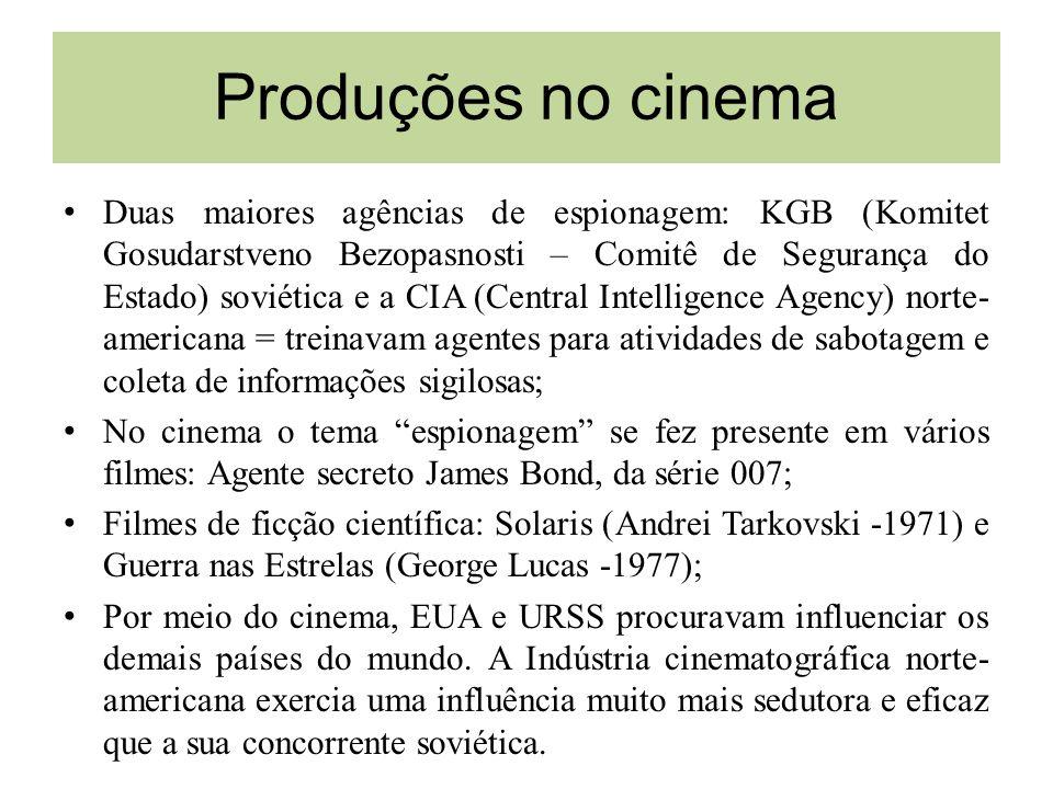 Produções no cinema Duas maiores agências de espionagem: KGB (Komitet Gosudarstveno Bezopasnosti – Comitê de Segurança do Estado) soviética e a CIA (C