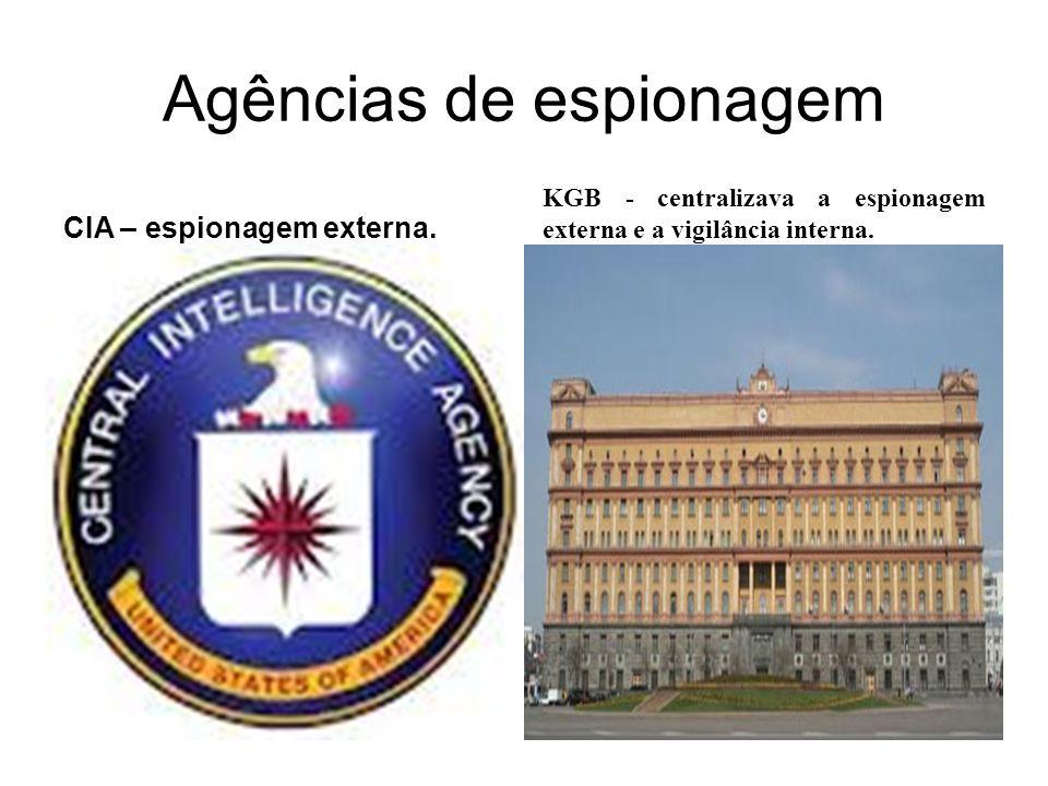 Agências de espionagem CIA – espionagem externa. KGB - centralizava a espionagem externa e a vigilância interna.