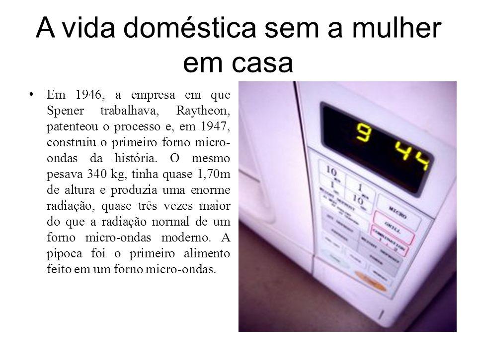 A vida doméstica sem a mulher em casa Em 1946, a empresa em que Spener trabalhava, Raytheon, patenteou o processo e, em 1947, construiu o primeiro for