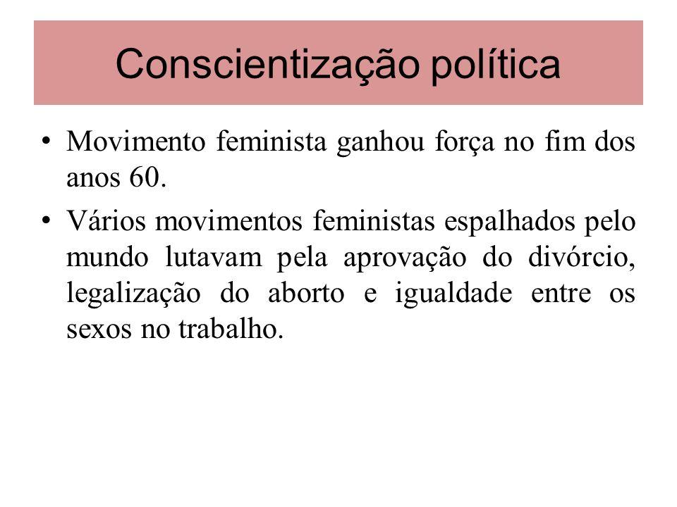 Conscientização política Movimento feminista ganhou força no fim dos anos 60. Vários movimentos feministas espalhados pelo mundo lutavam pela aprovaçã
