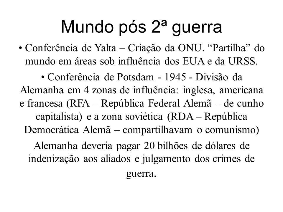 Mundo pós 2ª guerra Conferência de Yalta – Criação da ONU. Partilha do mundo em áreas sob influência dos EUA e da URSS. Conferência de Potsdam - 1945