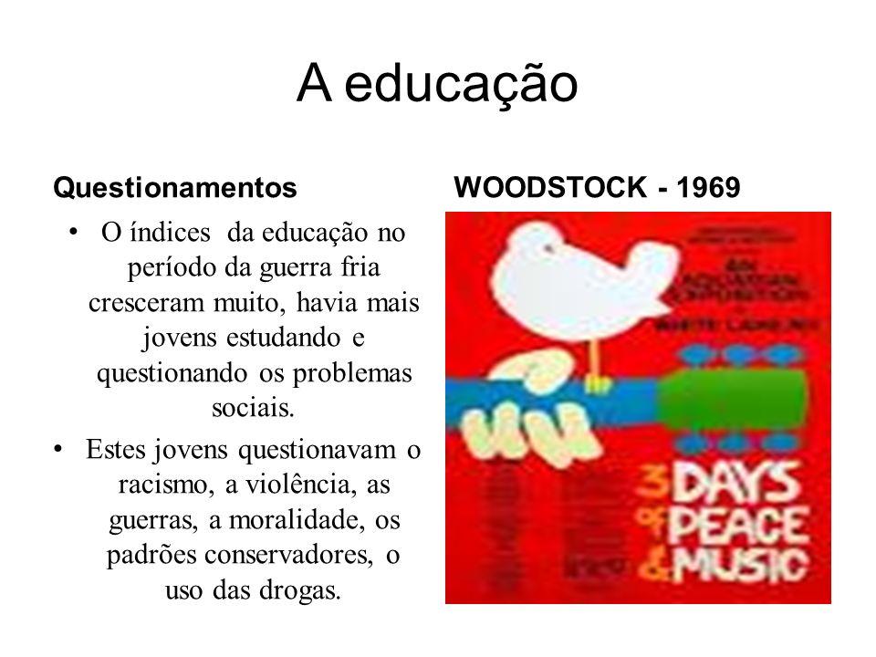 A educação Questionamentos O índices da educação no período da guerra fria cresceram muito, havia mais jovens estudando e questionando os problemas so