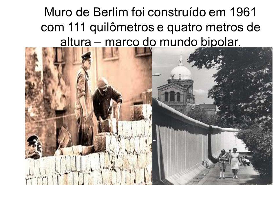 Muro de Berlim foi construído em 1961 com 111 quilômetros e quatro metros de altura – marco do mundo bipolar.
