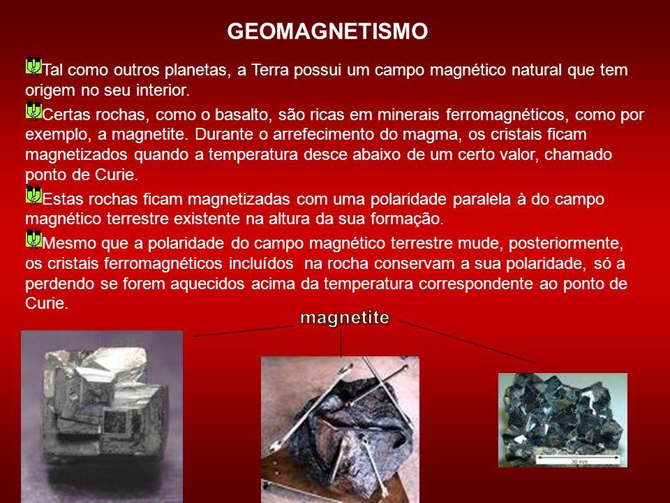 GEOMAGNETISMO Tal como outros planetas, a Terra possui um campo magnético natural que tem origem no seu interior. Certas rochas, como o basalto, são r