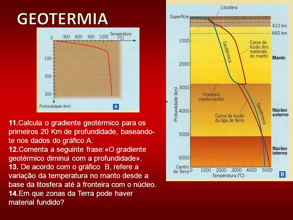 11.Calcula o gradiente geotérmico para os primeiros 20 Km de profundidade, baseando- te nos dados do gráfico A. 12.Comenta a seguinte frase:«O gradien