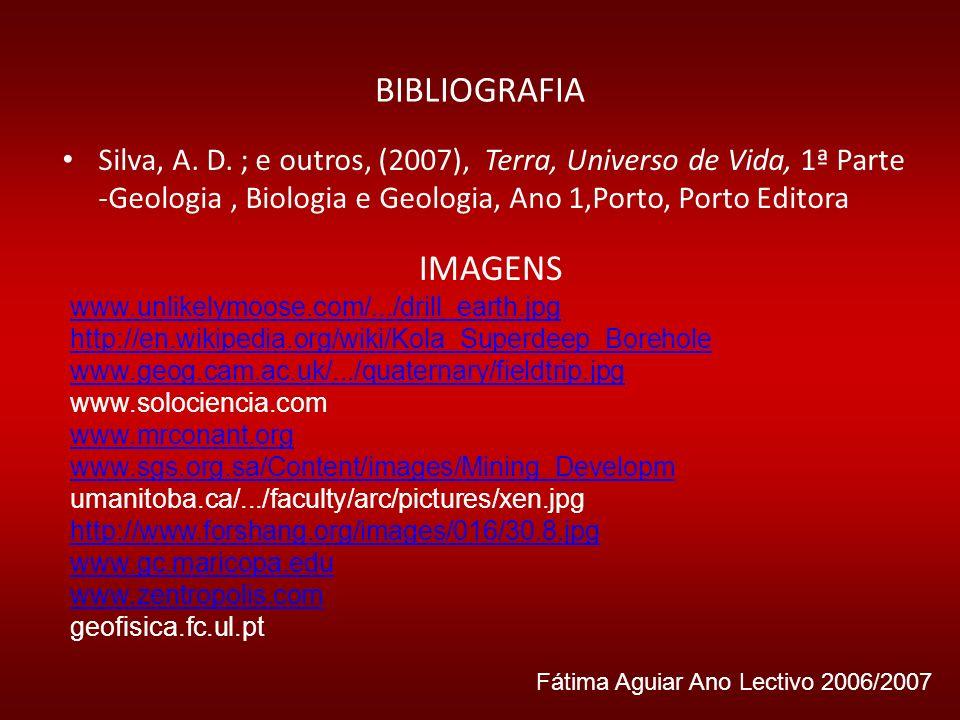 BIBLIOGRAFIA Silva, A. D. ; e outros, (2007), Terra, Universo de Vida, 1ª Parte -Geologia, Biologia e Geologia, Ano 1,Porto, Porto Editora IMAGENS www