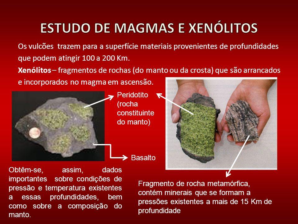 Os vulcões trazem para a superfície materiais provenientes de profundidades que podem atingir 100 a 200 Km. Xenólitos – fragmentos de rochas (do manto