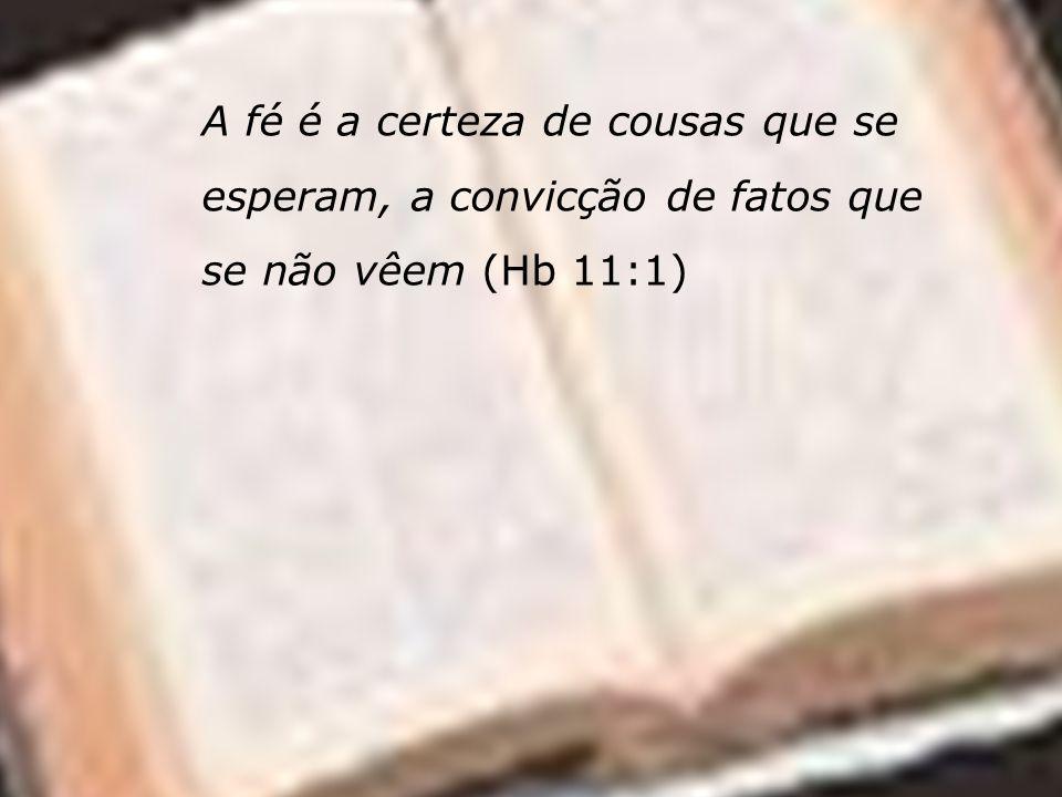 A fé é a certeza de cousas que se esperam, a convicção de fatos que se não vêem (Hb 11:1)
