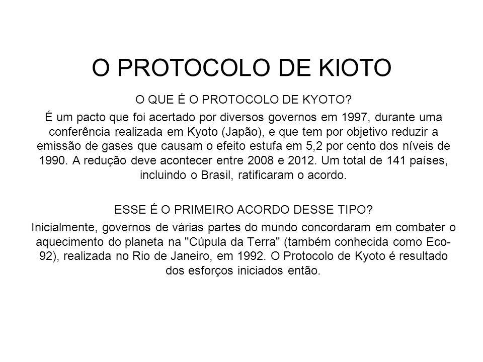 O PROTOCOLO DE KIOTO O QUE É O PROTOCOLO DE KYOTO? É um pacto que foi acertado por diversos governos em 1997, durante uma conferência realizada em Kyo