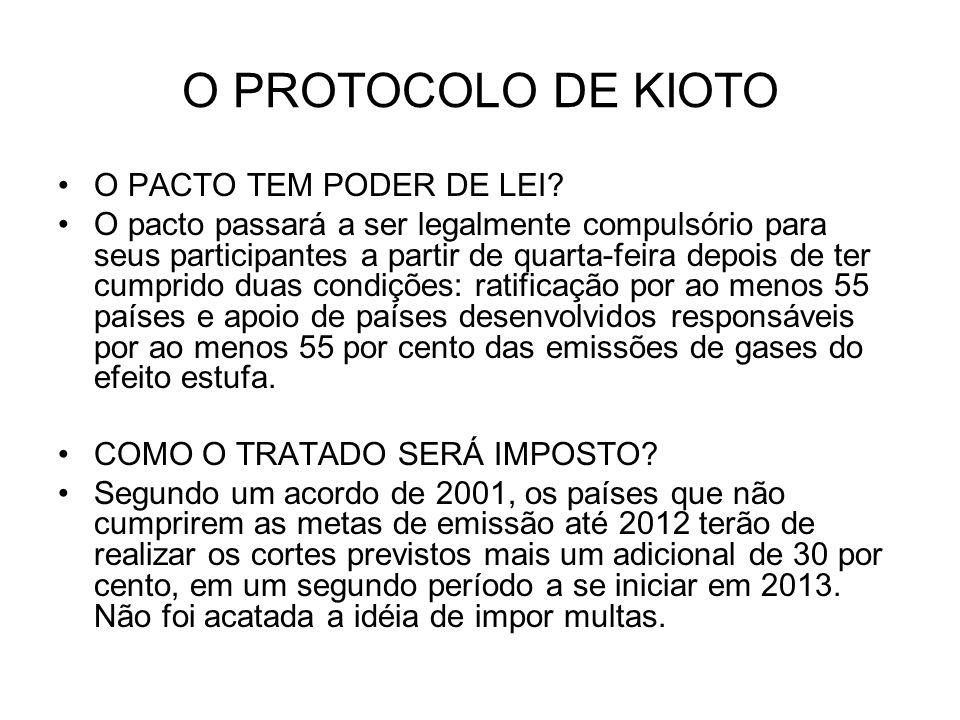 O PROTOCOLO DE KIOTO TODOS OS PAÍSES TÊM DE RESTRINGIR AS EMISSÕES.