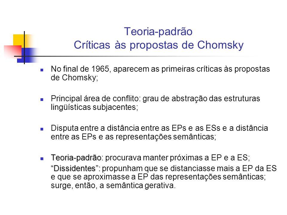 Teoria-padrão Críticas às propostas de Chomsky No final de 1965, aparecem as primeiras críticas às propostas de Chomsky; Principal área de conflito: g