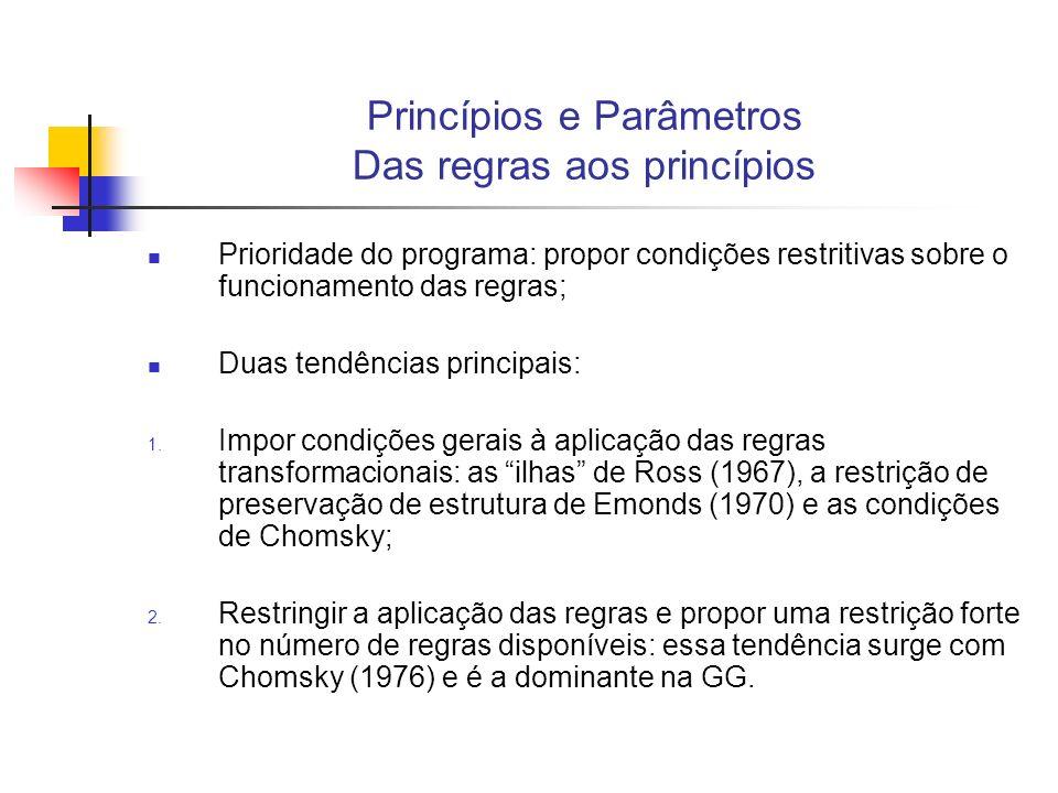 Princípios e Parâmetros Das regras aos princípios Prioridade do programa: propor condições restritivas sobre o funcionamento das regras; Duas tendênci