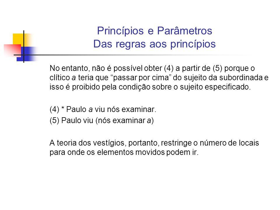 Princípios e Parâmetros Das regras aos princípios Substituição de uma perspectiva derivacional por uma perspectiva representacional; na teoria de SS teoria-padrão Numa perspectiva derivacional, as várias representações dos níveis lingüísticos (fonemas, morfemas, palavras, categorias sintáticas, estrutura frasal e transformações, na teoria de SS, ou estrutura profunda, estrutura superficial, forma fonética e representação semântica, na teoria-padrão) são derivadas umas das outras por meio de regras; A gramática é direcional, ou seja, os níveis de análise lingüística são abordados numa ordem determinada.