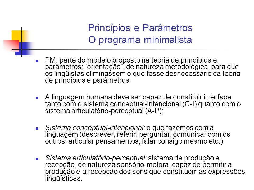 Princípios e Parâmetros O programa minimalista PM: parte do modelo proposto na teoria de princípios e parâmetros; orientação, de natureza metodológica