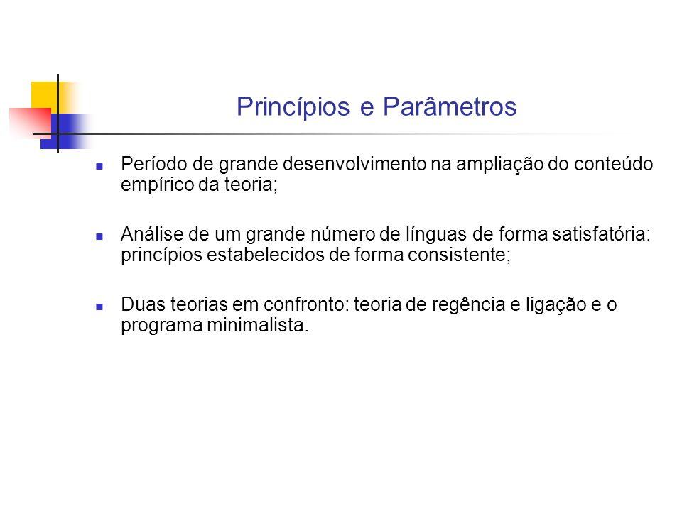 Princípios e Parâmetros Período de grande desenvolvimento na ampliação do conteúdo empírico da teoria; Análise de um grande número de línguas de forma