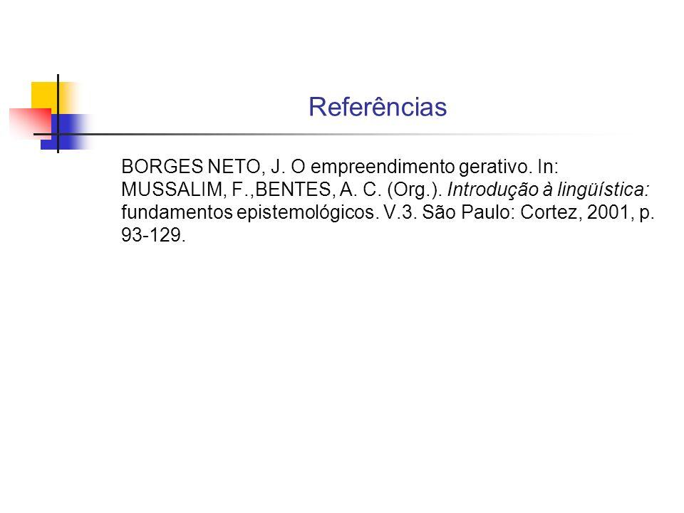 Referências BORGES NETO, J. O empreendimento gerativo. In: MUSSALIM, F.,BENTES, A. C. (Org.). Introdução à lingüística: fundamentos epistemológicos. V