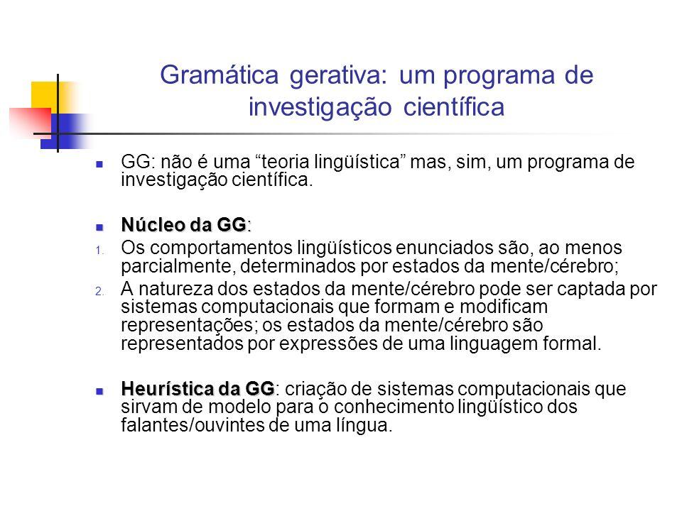 Gramática gerativa: um programa de investigação científica GG: não é uma teoria lingüística mas, sim, um programa de investigação científica. Núcleo d