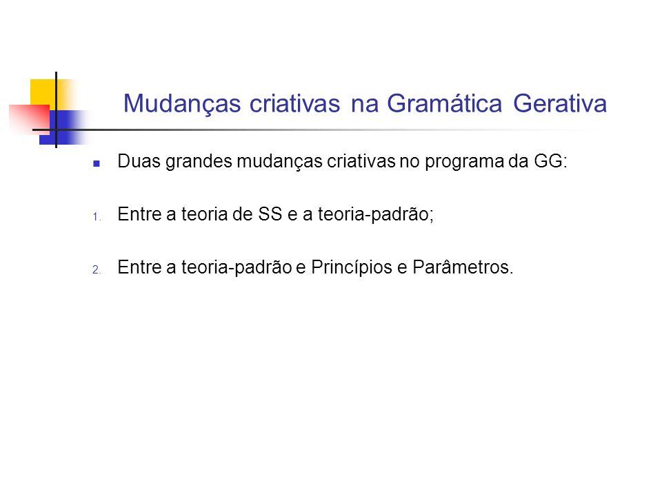 Mudanças criativas na Gramática Gerativa Duas grandes mudanças criativas no programa da GG: 1. Entre a teoria de SS e a teoria-padrão; 2. Entre a teor
