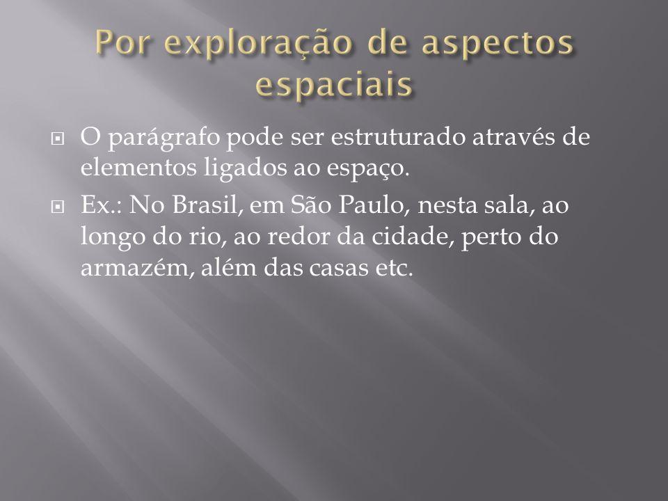 O parágrafo pode ser estruturado através de elementos ligados ao espaço. Ex.: No Brasil, em São Paulo, nesta sala, ao longo do rio, ao redor da cidade
