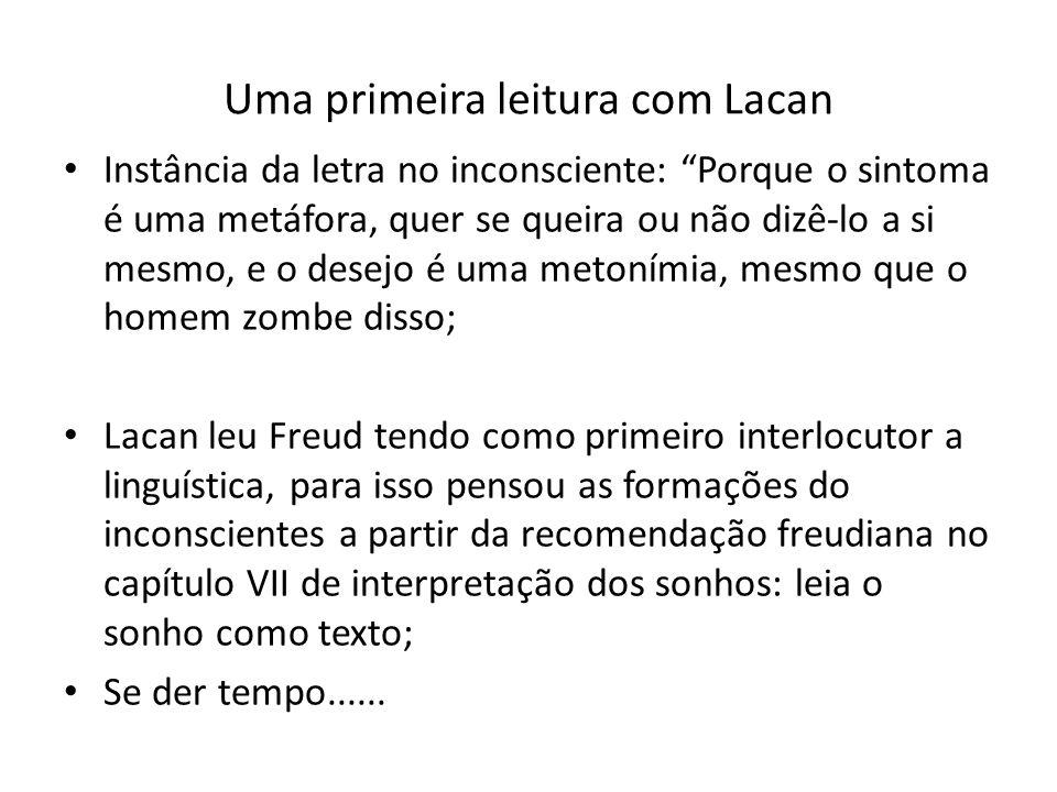 Uma primeira leitura com Lacan Instância da letra no inconsciente: Porque o sintoma é uma metáfora, quer se queira ou não dizê-lo a si mesmo, e o dese