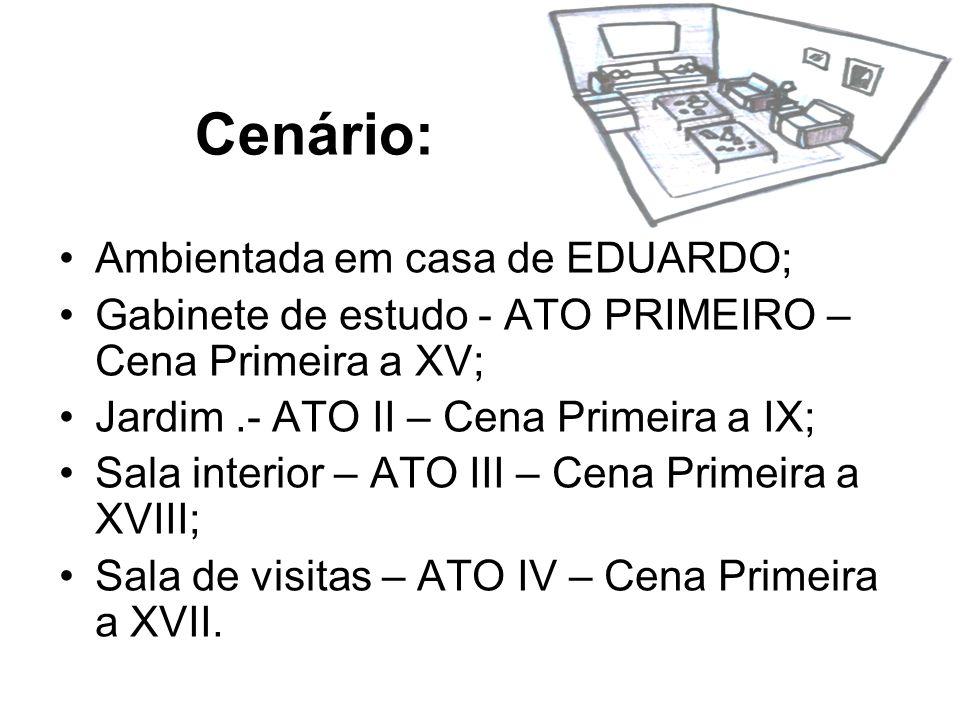 Cenário: Ambientada em casa de EDUARDO; Gabinete de estudo - ATO PRIMEIRO – Cena Primeira a XV; Jardim.- ATO II – Cena Primeira a IX; Sala interior –