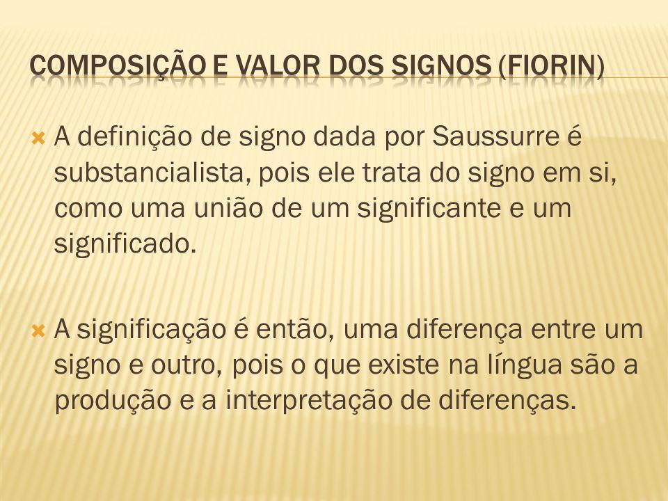 A definição de signo dada por Saussurre é substancialista, pois ele trata do signo em si, como uma união de um significante e um significado. A signif