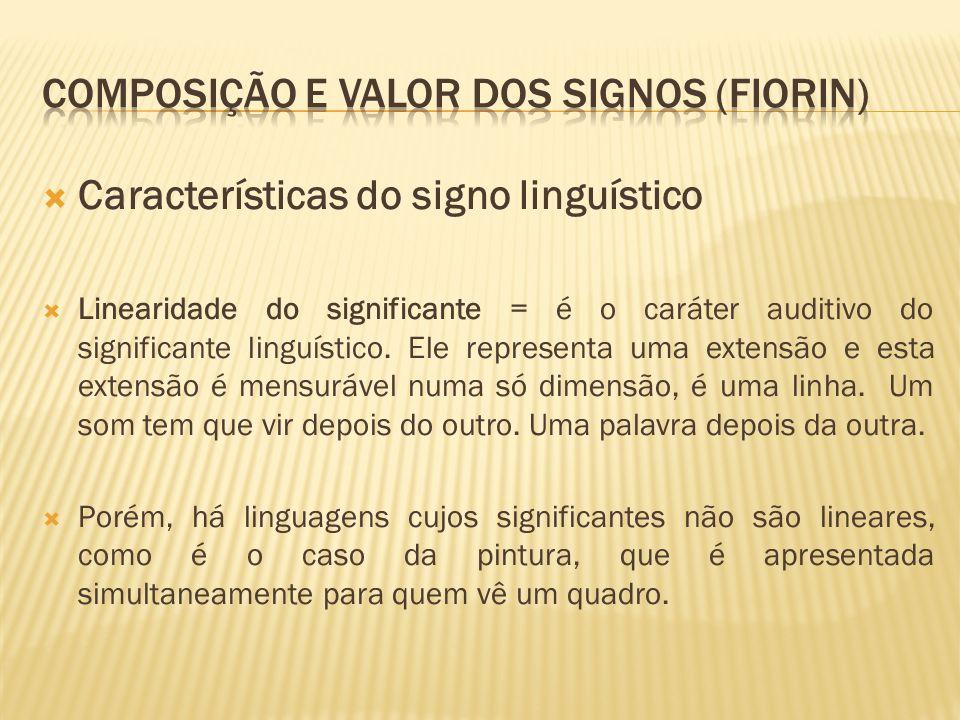 Características do signo linguístico Linearidade do significante = é o caráter auditivo do significante linguístico. Ele representa uma extensão e est