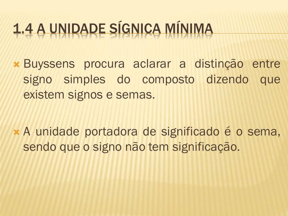 Buyssens procura aclarar a distinção entre signo simples do composto dizendo que existem signos e semas. A unidade portadora de significado é o sema,