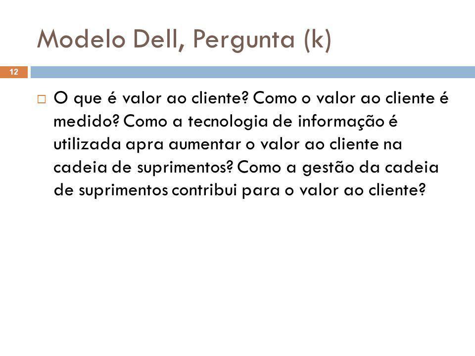 Modelo Dell, Pergunta (k) 12 O que é valor ao cliente? Como o valor ao cliente é medido? Como a tecnologia de informação é utilizada apra aumentar o v