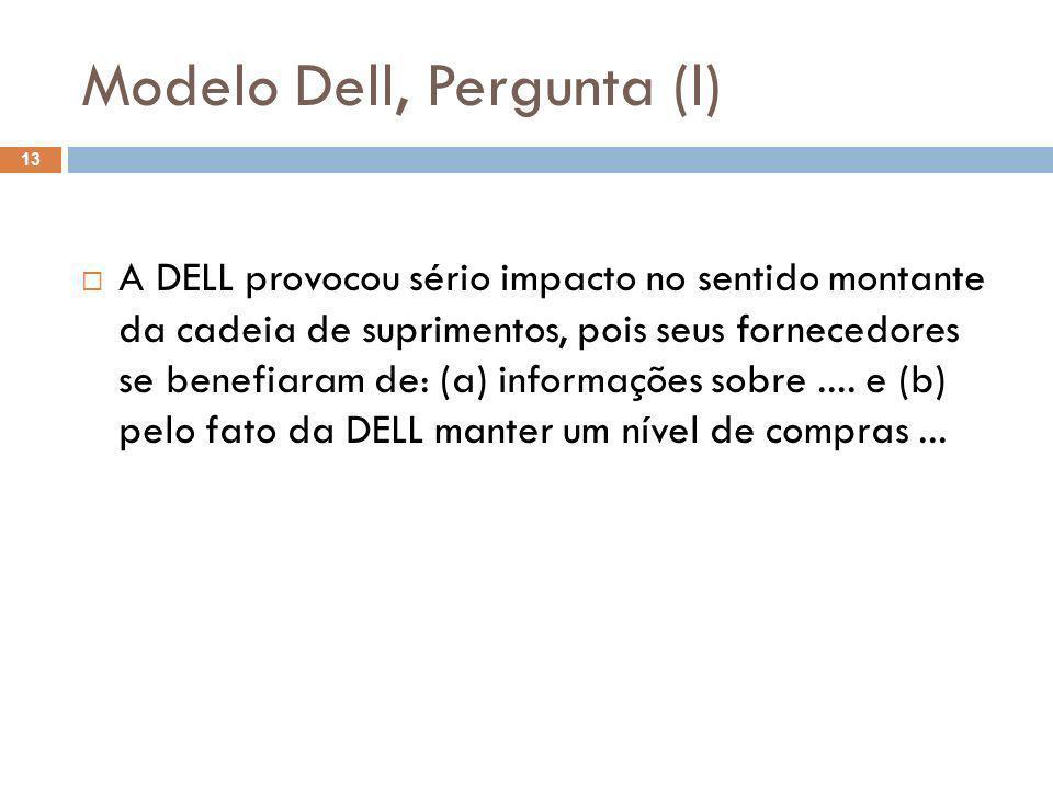 Modelo Dell, Pergunta (l) 13 A DELL provocou sério impacto no sentido montante da cadeia de suprimentos, pois seus fornecedores se benefiaram de: (a)