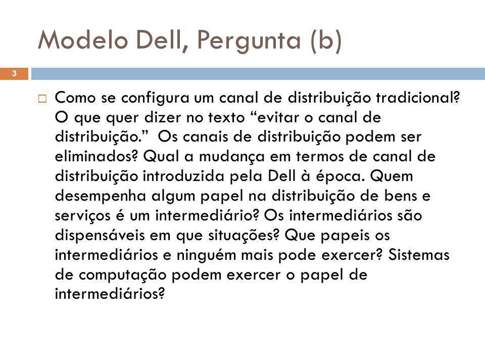 Modelo Dell, Pergunta (b) 3 Como se configura um canal de distribuição tradicional? O que quer dizer no texto evitar o canal de distribuição. Os canai